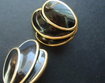 Vintage NAPIER Black Eamel and Gold Design Post Earrings