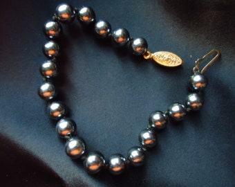 Vintage Double Knotted Metal Gray Pearl Bracelet -One Day SALE! April 23, 2013