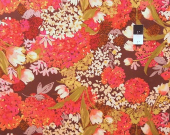 Nel Whatmore PWNW029 Eden Brown Cotton Fabric 1 Yard