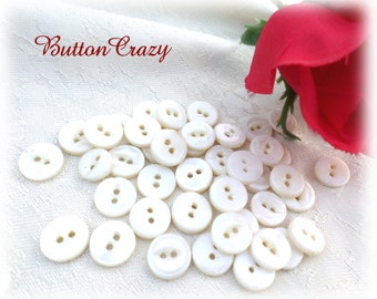40 Vintage Creamy White Pearl Buttons Small Pearl Buttons