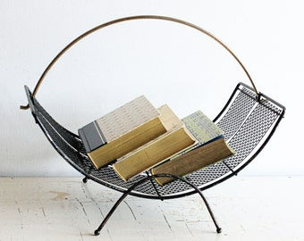 Vintage magazine rack - black - metal - retro - concave - rounded - half moon - log rack