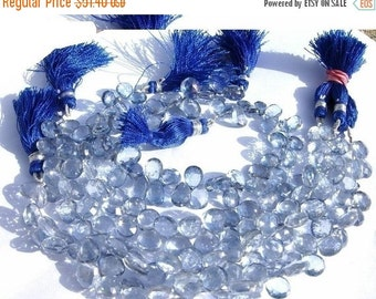 55% OFF SALE 1/2 Strand - Blue Mystic Quartz faceted pear shaped briolettes Size13x9 - 8x6mm approx