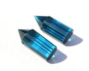 55% OFF SALE 2Pcs 1 Matched Pair AAA Teal Blue Quartz Faceted Pencil Briolette Size 20x8mm Pencil Point, Fancy Chandelier, Fancy Briolettes
