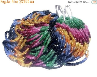 """55% OFF SALE 16"""" strand 2-2.5mm AAA Multi Precious Faceted Rondelles Emerald, ruby, pink sapphire, blue sapphire, orange sapphire, yellow sa"""
