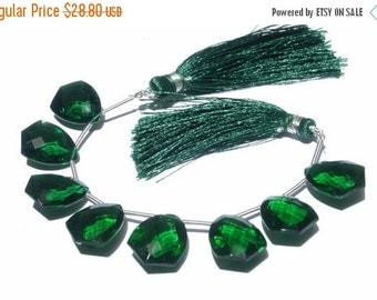 50% Off Valentine day 1/2 Strand - High Quality AAA Green Quartz Faceted Fancy Briolettes Size 18x14mm 4 Pcs 2 Matched pair