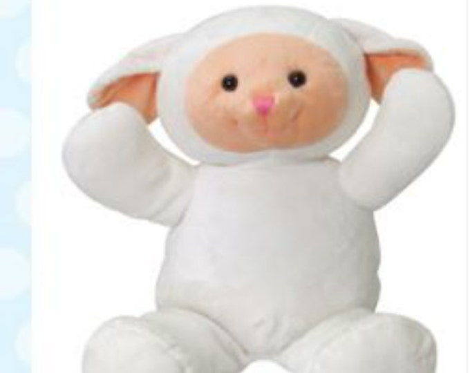 Personalized Plush Cuddly Lamb Toy, Stuffed Animal for Boy or Girl