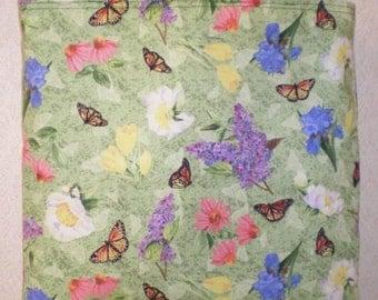Butterfly Flower Tote Bag Lilac Iris Tulip Butterflies Spring Summer Handmade Purse Limited