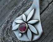 Pietas Goddess Pendant Sterling Rhodolite Garnet January Birthstone
