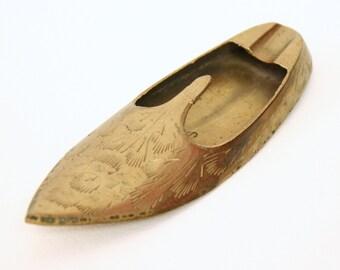 Etched Brass Slipper Ashtray/Incense Holder