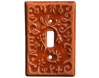 Whimsical Single Toggle Ceramic Light Switch Cover in Persimmon Glaze