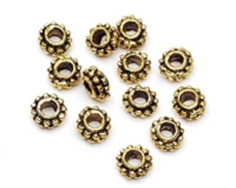 5x6mm Cast Spacer Beads Antique Gold 13 pieces per package Jewelry Craft fnt