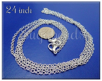 4 Silver Plated Finished Chains - 24 inch Cable Chains with Clasps SB05