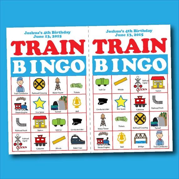 Train Bingo Birthday Board Game Digital Printable PDF JPEG