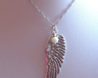 Angel Wing Necklace, Wings Necklace,  Angel Necklace, Wing Pendant, Pearl Necklace