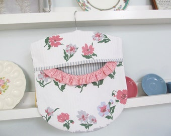 Clothes Pin Peg Bag - Pink Blue Grey Floral  - Repurposed Vintage Tablecloth & Wood Hanger - Cottage Shabby