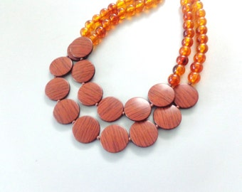 Brown wood grain necklace statement double strand