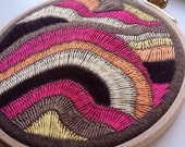 hand embroidered hoop art - freeform stitching on repurposed pool table felt in 4 inch hoop by bo betsy - free shipping