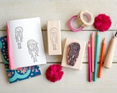 "Kid's Drawing Rubber Stamp - Custom Hand-Carved (2"") - Gift for Kids Grandkids Niece Nephew Student"