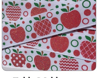 """Fall Autumn Apples * Back to School 5 yards Red Glitter 7/8""""on white TWRH"""
