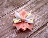 Pink and Gold Flower your choice of clip or headband