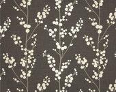 Floral Stem Valance - Richloom Evelynne Slub Graphite Fabric