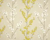Floral Stem Valance - Richloom Evelynne Lemongrass Fabric - Colors include ivory, grey and yellow on a tan background.