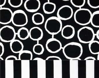 Black and White Layered Shaped Swag Valance - stripes