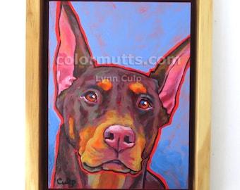 Red DOBERMAN PINSCHER Dog Original Portrait Framed Art Painting on Panel 6x8 by Lynn Culp