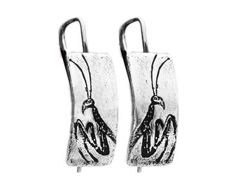 MANTIS EARRINGS -- Hand Crafted Oxidized Eco Friendly Sterling Silver Praying Mantis Earrings