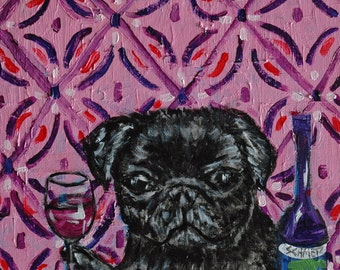 black pug at the wine bar dog art signed art print