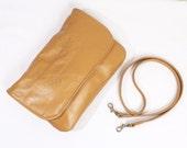 Small Saddle Tan Genuine Leather Mini Crossbody Bag Clutch