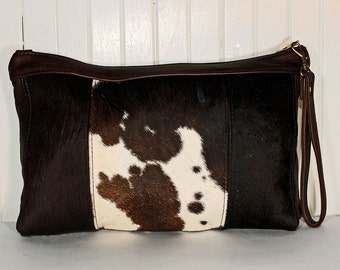 Sable Brown and White Cowhide Leather Clutch Bag