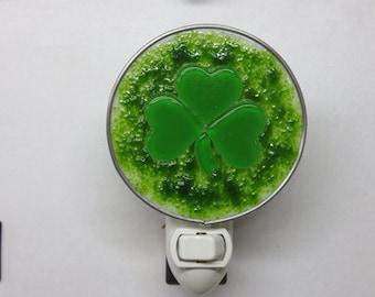 Shamrock NLs 3 Choices - 3 Styles To Choose From - St. Patricks Shamrock Nightlights - Fused Glass Double Green Shamrock Night Lights