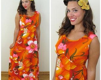 60s Royal Hawaiian Red Orange Floral Empire Waist Maxi Dress, Size Medium to Large