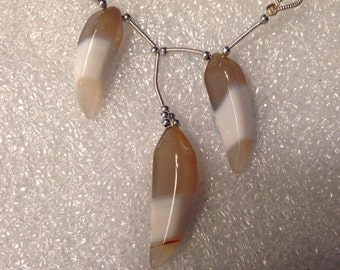 1 Set of 3 White/ Cloudy tan Chalcedony  Claws Beads- Fancy Carved -32-53mm-