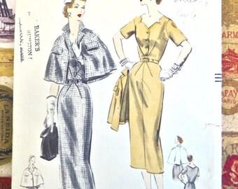 Vintage 1950s Womens Dress and Cape Pattern - Vogue 7897