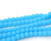 Frosted Light Blue 6mm Round Glass Beads  33