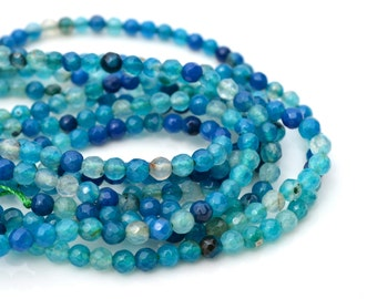 Dyed Blue Agate 4mm Faceted Round Beads  Full 15 inch strand