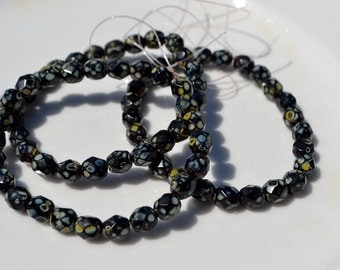 Black with Picasso Coating 6mm Faceted Fire polish Czech GLass Round Beads  25