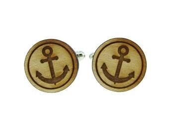 Anchor Symbol Wood Cufflinks  (MCW005)