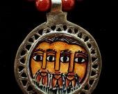 Ethiopian Hand Painted Three Faces
