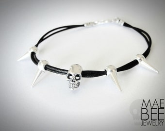 Skull Bracelet Black Leather Bracelet Halloween jewelry Sterling silver skull