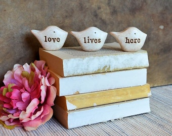 Gifts for her, white love lives here birds ... Three rustic handmade clay birds ... Word Birds, white