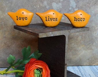 Gifts for her, yellow love lives here birds decor ... Three rustic handmade keepsake clay birds ... Word Birds
