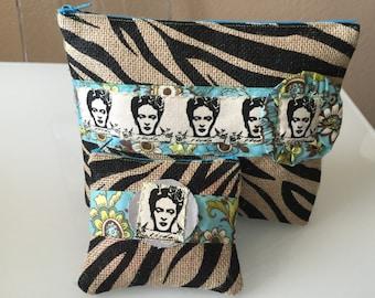 frida kahlo clutch and coin purse set