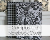 oilcloth composition notebook cover // jacket cover for dollar composition notebooks with ribbon page marker