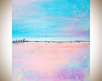 "Colorful modern Abstract painting blue pink purple seascape wall art canvas art acrylic painting shabby chic ""Lovely"" by QIQIGALLERY"