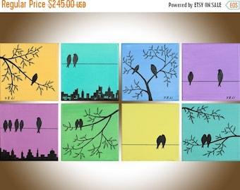 "Colorful art Eight Square birds painting original art wall decor wall art  love birds trees decorative art ""Suburban Birds"" by qiqigallery"