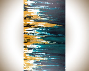 "Modern Abstract art Large wall art canvas art Turquoise gold acrylic painting original artwork home office decor ""Fusion"" by QiQigallery"