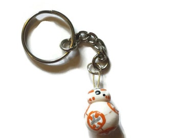 Miniature BB8 Inspired Keychain, Hand sculpted Polymer Clay, Star Wars Droid